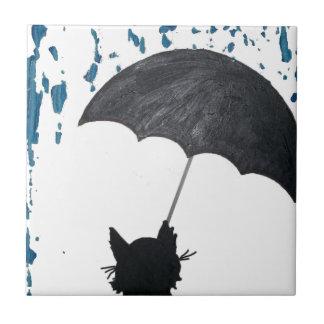 Whimsical Cat under Umbrella Tile