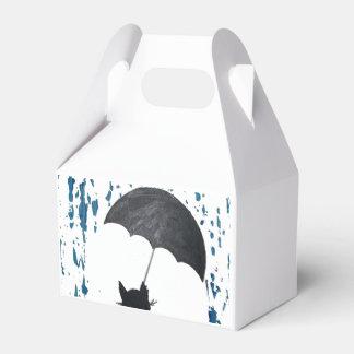 Whimsical Cat under Umbrella Wedding Favor Boxes