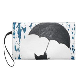 Whimsical Cat under Umbrella Wristlet Clutch