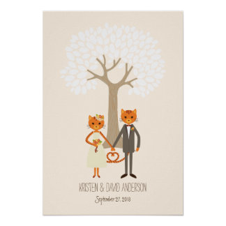 Whimsical Cats (Cream) Fingerprint Signature Tree Poster