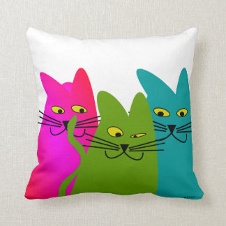 Whimsical Cats Pillow Best Buddies