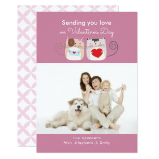 Whimsical Cats Valentine's Day Photo Cards