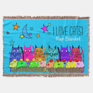 Whimsical Cats Woven Blanket Cats Blue Throw Blanket
