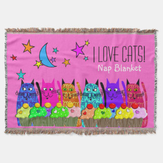 Whimsical Cats Woven Blanket Cats Pink Throw