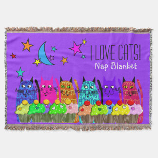 Whimsical Cats Woven Blanket Cats Purple Throw Blanket