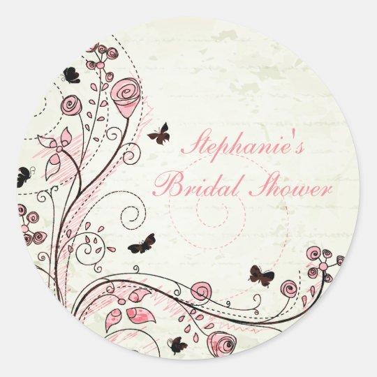 Whimsical chic floral swirls bridal shower sticker