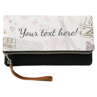Whimsical Chic Girly Pink Paris Clutch