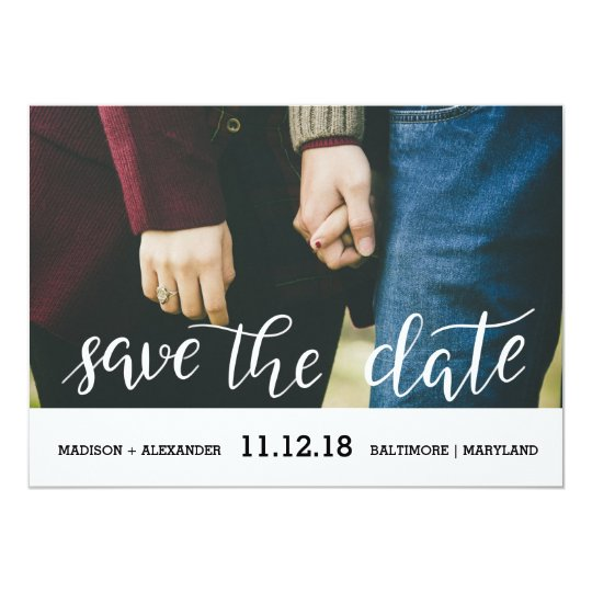 Whimsical Chic Handwritten Save The Date Photo Card