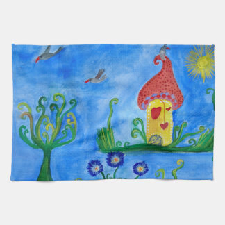 Whimsical Child Illustration Tea Towel