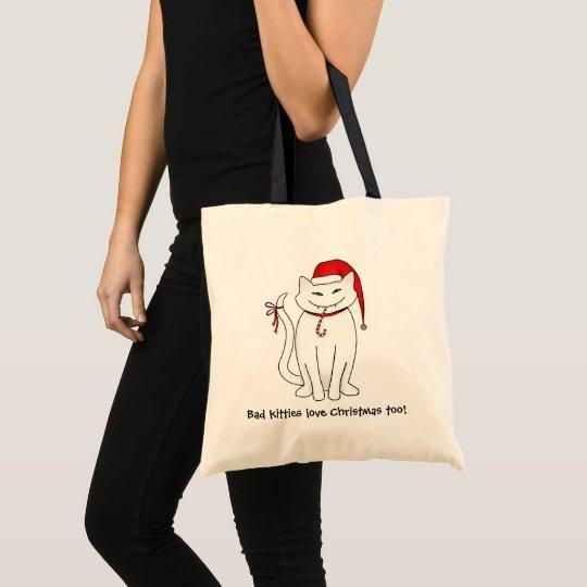 Whimsical Christmas kitty Tote Bag