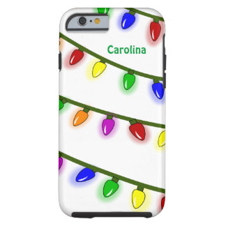 Whimsical Christmas Lights Custom Name iPhone 6 ca Tough iPhone 6 Case