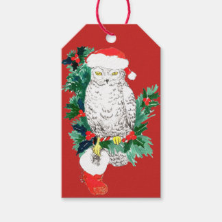 Whimsical Christmas Owl Stocking and Santa Hat Gift Tags