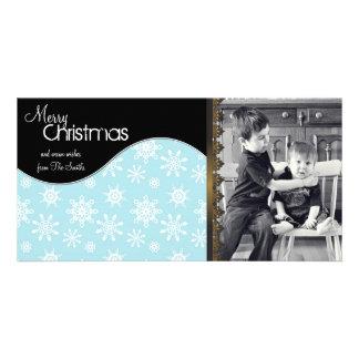 Whimsical Christmas Photo Card White Snowflakes