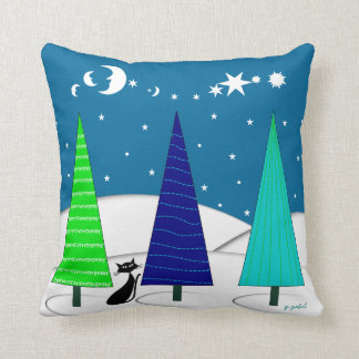 Whimsical Christmas Trees and Cat Pillow