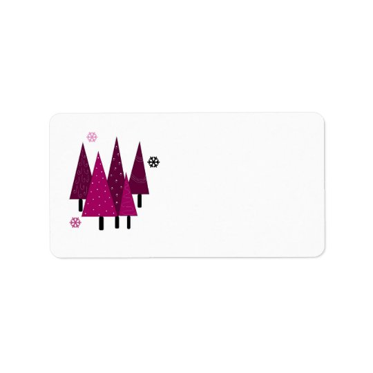 Whimsical Christmas Trees Label