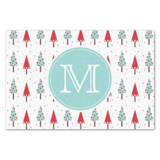 Whimsical Christmas Trees Monogram Tissue Paper