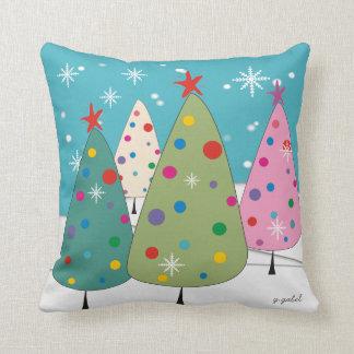 Whimsical Christmas Trees Pillow