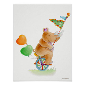 Whimsical circus unicycle rhino nursery poster