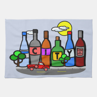 Whimsical City Scene Bottles Red Truck Towel