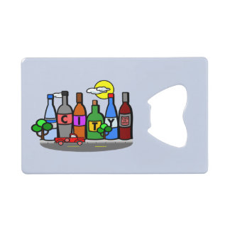 Whimsical City Scene Bottles Truck Bottle Opener Wallet Bottle Opener