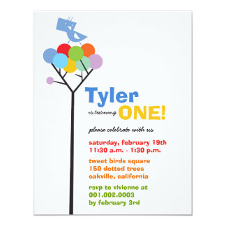 Whimsical Color Dots Birds Tree Kids 1st Birthday Personalized Invitation
