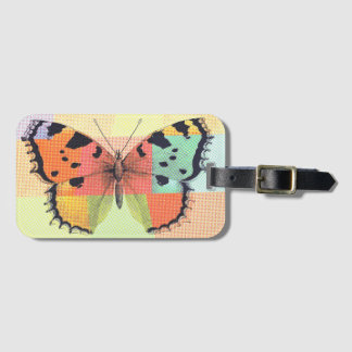 Whimsical Colored Butterfly Sketch Luggage Tag