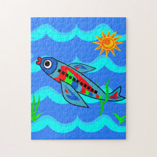 Whimsical Colorful Fish Airplane Jigsaw Puzzle