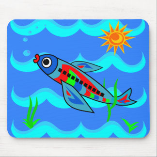 Whimsical Colorful Fish Airplane Mouse Pad