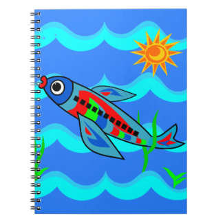 Whimsical Colorful Fish Airplane Notebooks