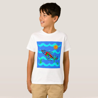 Whimsical Colorful Fish Airplane T-Shirt