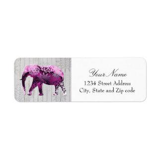 Whimsical Colorful Floral Elephant on Wood Design Return Address Label