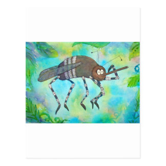 Whimsical Colorful Mosquito Flexing Muscles Funny Postcard