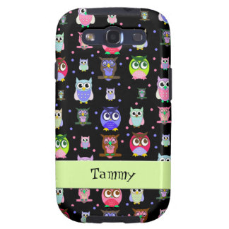 Whimsical Colorful Owls Samsung S3 Phone Case