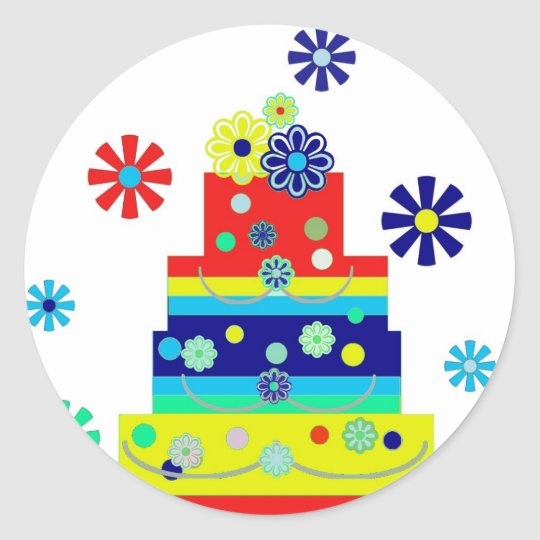 Whimsical Colourful Birthday Cake Design Classic Round Sticker