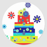 Whimsical Colourful Birthday Cake Design Round Sticker