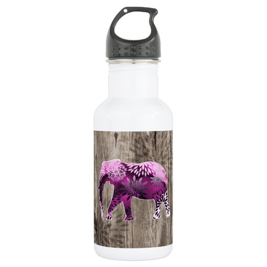 Whimsical Colourful Floral Elephant on Wood Design 532 Ml Water Bottle