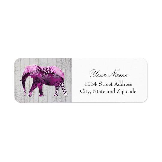 Whimsical Colourful Floral Elephant on Wood Design Return Address Label