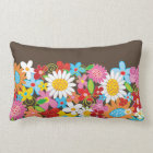 Whimsical Colourful Spring Flowers Garden Pillow