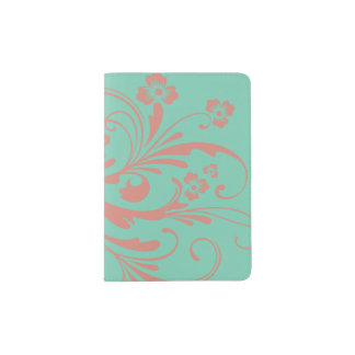 Whimsical Coral and Mint Chic floral Passport Holder