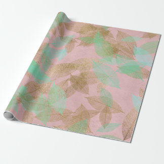 Whimsical Coral Gold Falling Leafs Pink Wrapping Paper