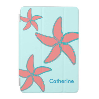 Whimsical Coral Pink Starfish on Aqua Custom Beach iPad Mini Cover