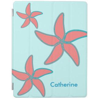 Whimsical Coral Pink Starfish on Aqua Custom Name iPad Cover