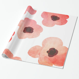 Whimsical Coral Watercolor Flowers Modern Wrapping Paper