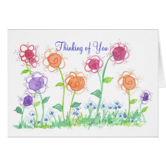 Whimsical Cottage Flowers Thinking of You Card