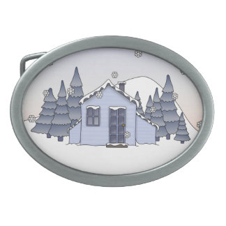 Whimsical Country Cottage Winter Scene in Blues Belt Buckles
