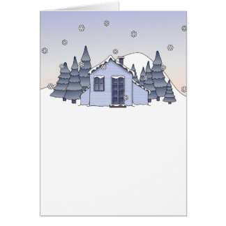 Whimsical Country Cottage Winter Scene in Blues Card