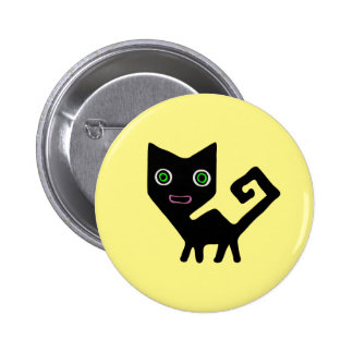 Whimsical Crooked Little Green Eyed Black Cats 2 Inch Round Button