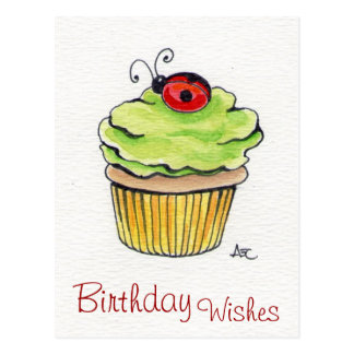 Whimsical Cupcake and Ladybug Postcards