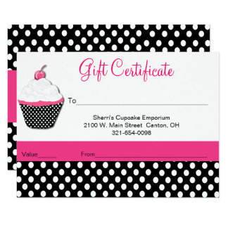 Whimsical CupcakeBakery Business Gift Certificate Card