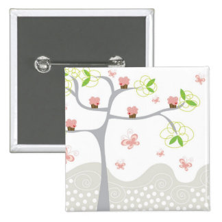 Whimsical Cupcakes Tree Butterflies Sweet Birthday 2 Inch Square Button